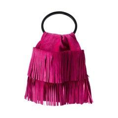 YSL   Fuchsia Fringed Suede Bag