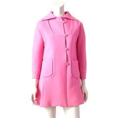 Mila Schon Hot Pink Double Face Wool Coat Dress