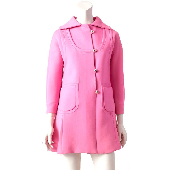 Mila Schon Hot Pink Double Face Wool Coat Dress at 1stdibs