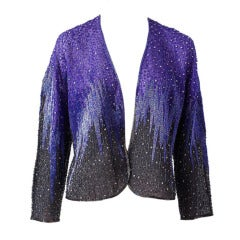 Halston Violet Beaded Evening Jacket