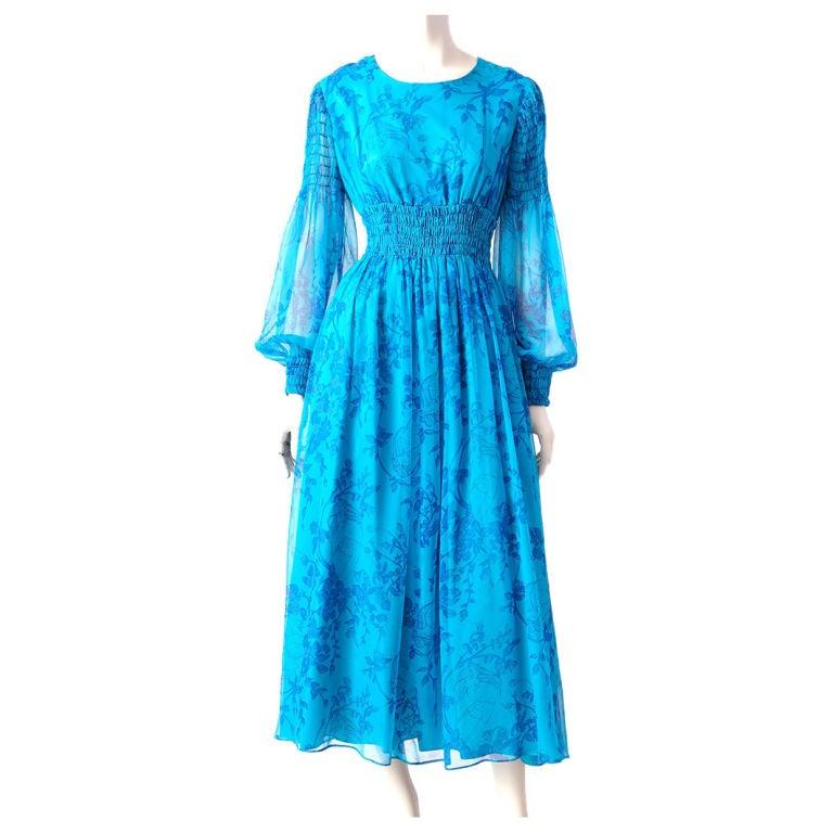 Miss Magnin Floral Print Chiffon Dress 1