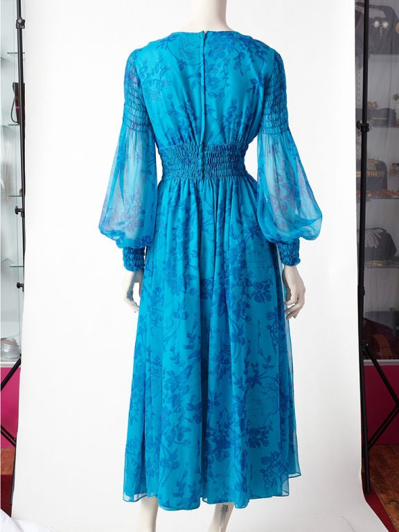 Miss Magnin Floral Print Chiffon Dress 3