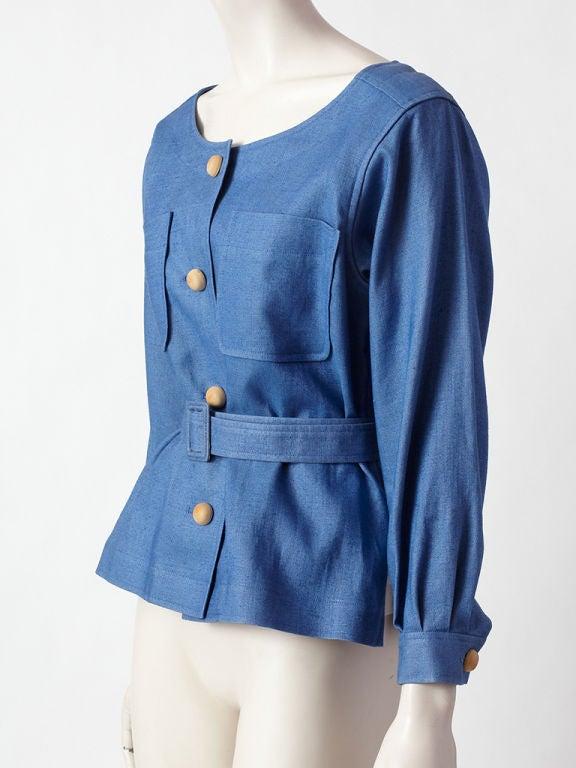 YSl blue linen belted jacket 2