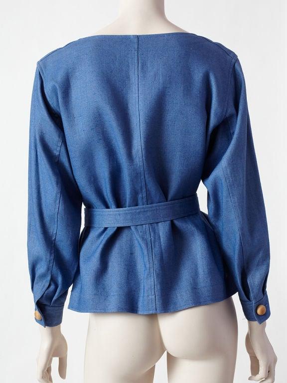 YSl blue linen belted jacket 3