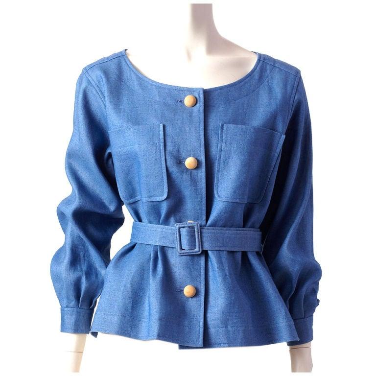 YSl blue linen belted jacket 1