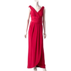 Victor Edelstein Silk Crepe Draped Evening Gown
