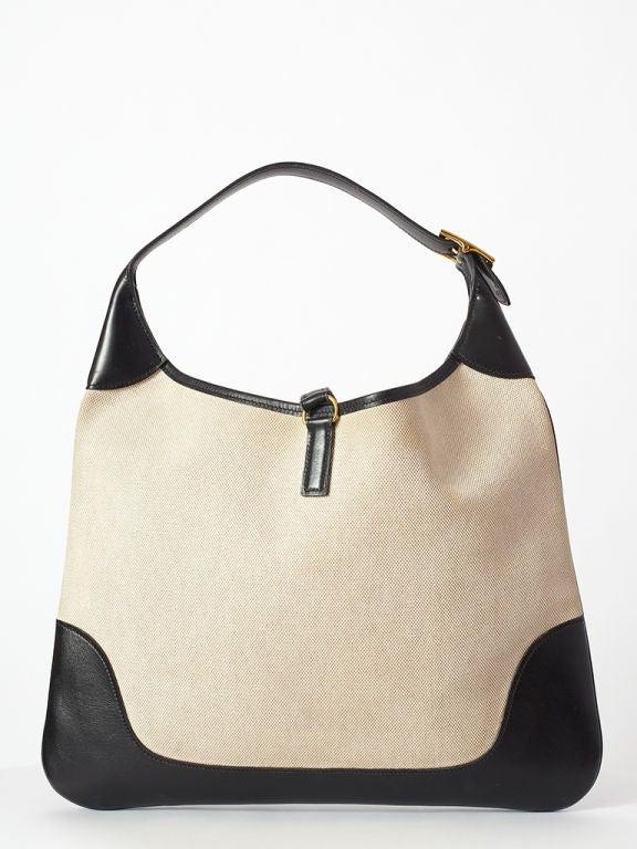 Hermes Canvas + Leather Trim Bag at 1stdibs