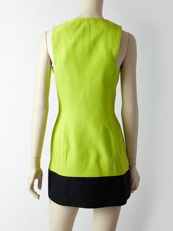 Women's Claude Montana Acid Green Sleeveless Dress
