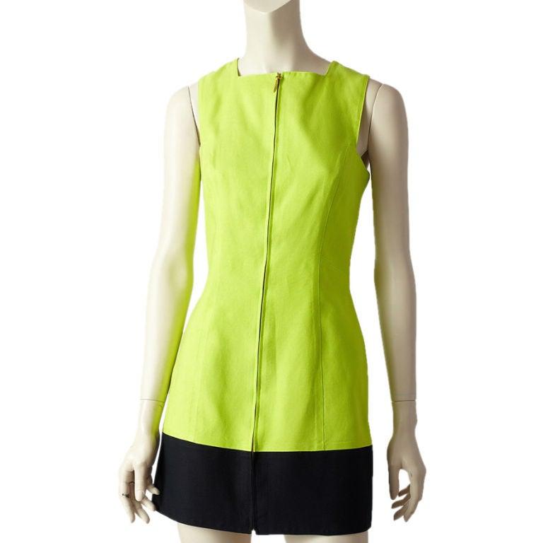Claude Montana Acid Green Sleeveless Dress