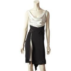 Ocimar Versolato Black + White Satin Cocktail Dress