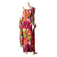 Sarmi Silk Floral Print Gown With Chiffon Stole