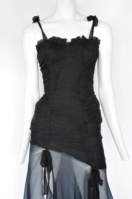 Black is Black! <br /> Black chiffon mini with chiffon layers that sweep the legs ~ WOW!<br /> This stunning Lacroix dress is chic, sexy and beautifully constructed.