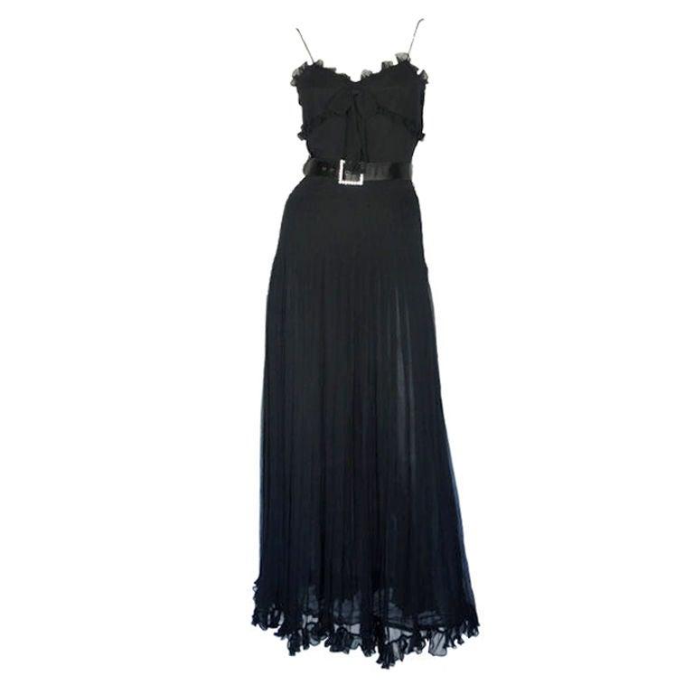 Valentino Black Chiffon Gown 2