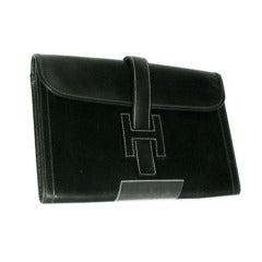 Hermes Dark Green envelope clutch