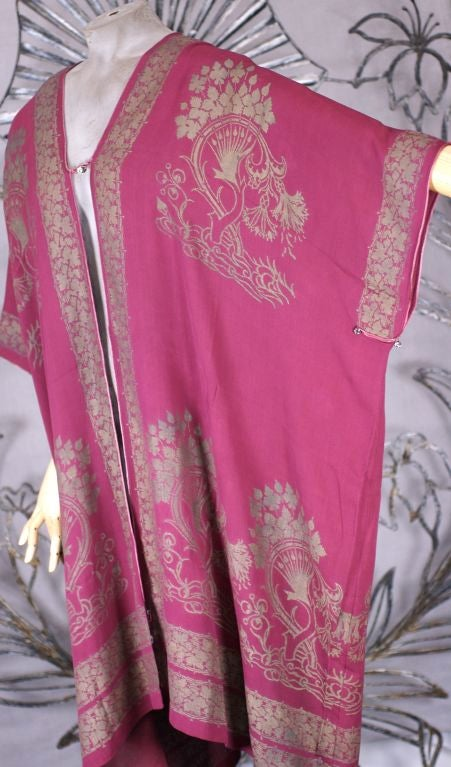 Rare Mariano Fortuny Berry Silk Crepe Coat 3