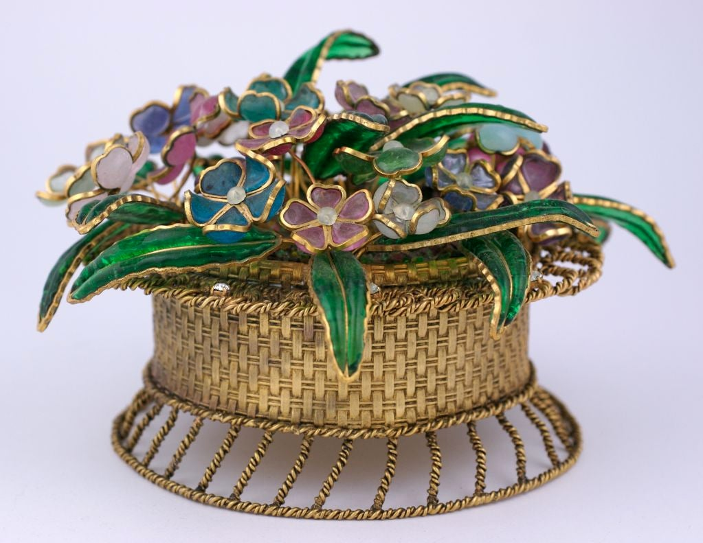 These extraordinary table ornaments date from the 1950's Paris. They come from the house of Gripoix which is famous for producing Chanel's poured glass jewelry and pearls from the early 1920's until the late 1980s. These cachepots were completely
