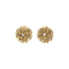 Miriam Haskell gilt Thistle Earrings thumbnail 1