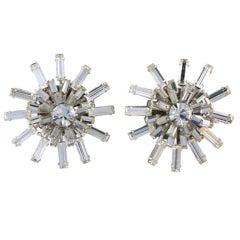 Miriam Haskell Baguette Starburst Earrings