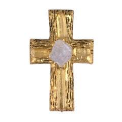 Chanel Rock Crystal Cross Brooch/Pendant