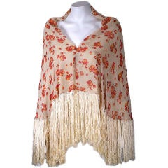 1920s Printed Chiffon and Cut Silk Velvet Fringed Shawl, France