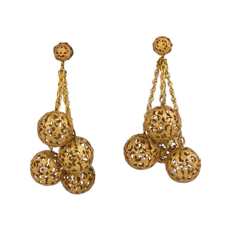 Miriam Haskell filigree ball earrings