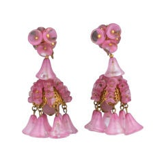 Miriam Haskell Rose Glass Chandelier Earrings