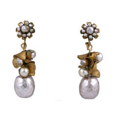 Miriam Haskell Pearl and Gilt Drop Earrings