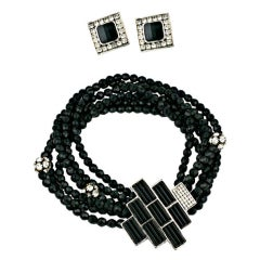 Jet and Crystal Statement Necklace and Earring Suite
