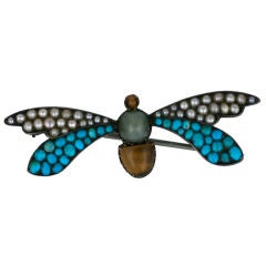 Seed Pearl, Turquoise and Tiger Eye Victorian Wasp Brooch