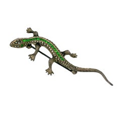 Marcasite and Emerald Paste Salamander Brooch