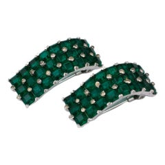 Invisibly Set Faux Emerald Clips 1930s