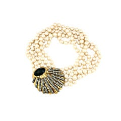 Pearls with Pave Shell Clasp