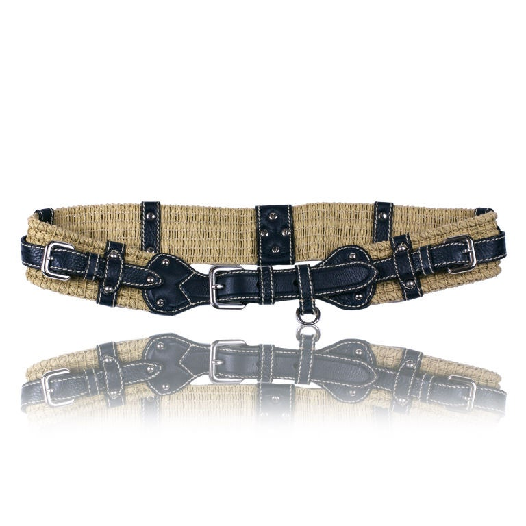 prada leather and cotton cord belt at 1stdibs