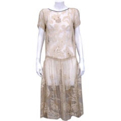 1920's French Cotton Filet Dress with Wood Bead Embroidery