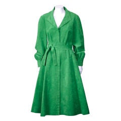 Mollie Parnis Kelly Green Ultrasuede Shirtdress