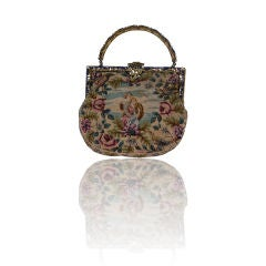 Unusual Victorian Needlepoint and Enamel Mounted Purse