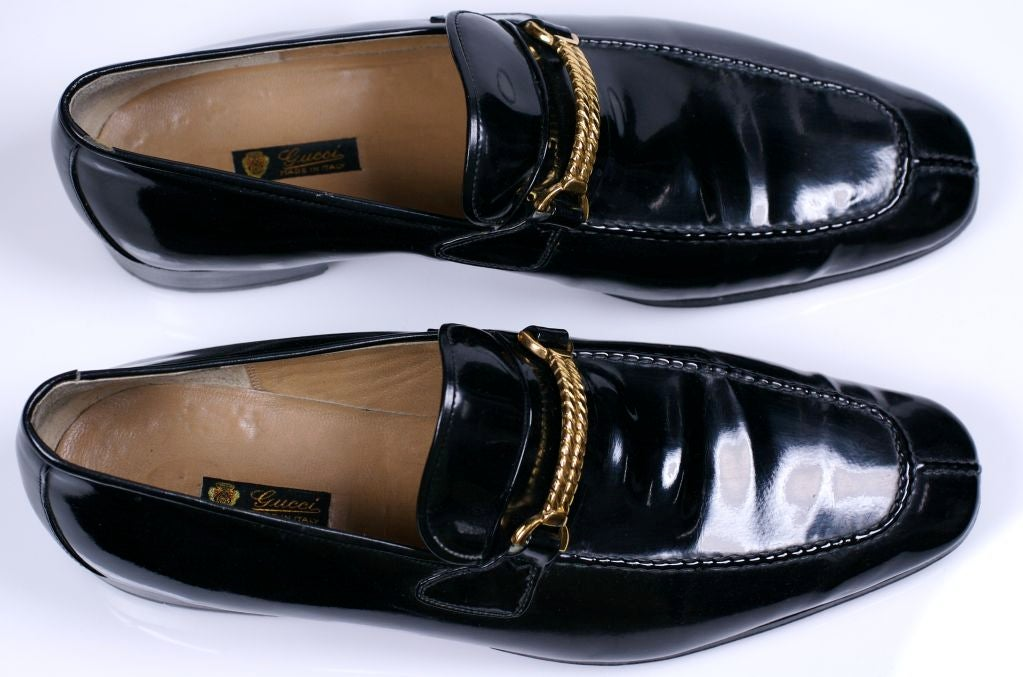 Black Elegant Gucci Mens Patent Loafers For Sale