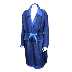 Nina Ricci Midnight Blue Crinkled Silk Suit, Olivier Theyskens