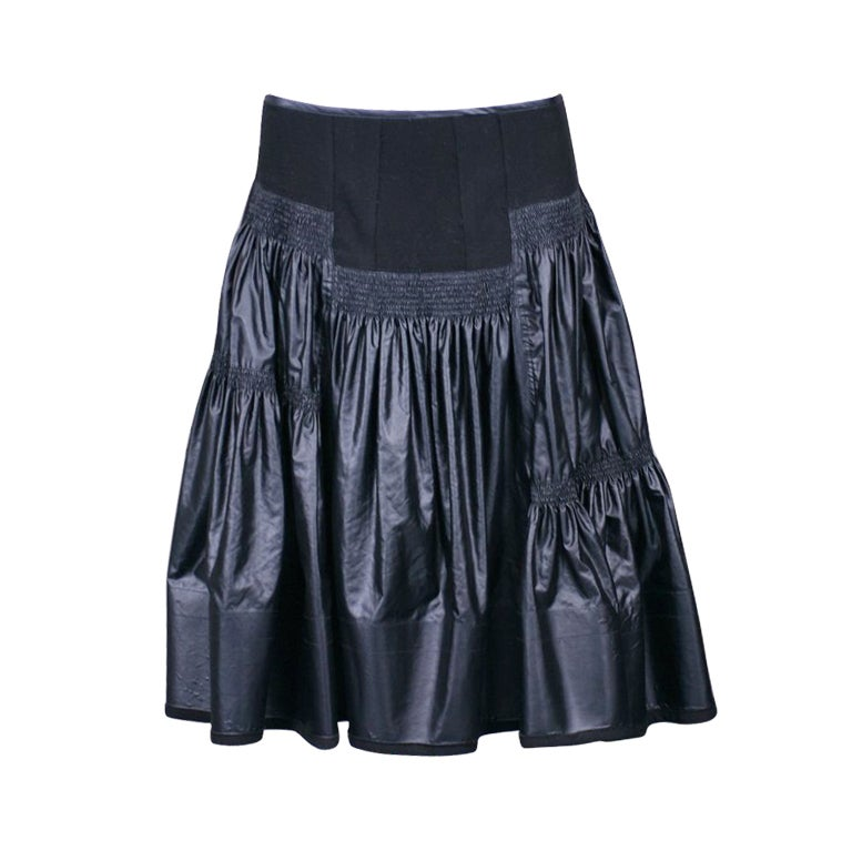 Donna Karan Glazed Cotton and Wool Tiered Skirt For Sale