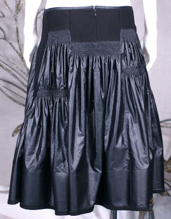 Black Donna Karan Glazed Cotton and Wool Tiered Skirt For Sale