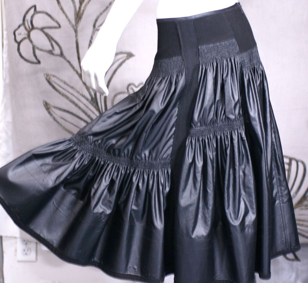 Women's Donna Karan Glazed Cotton and Wool Tiered Skirt For Sale