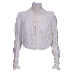 Edwardian Irish Crochet and Crinkle Cotton Blouse