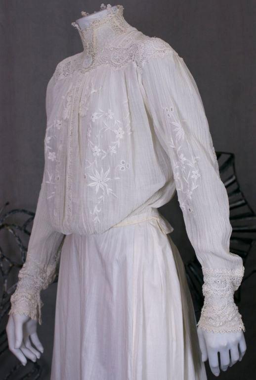 Edwardian Irish Crochet and Crinkle Cotton Blouse 3