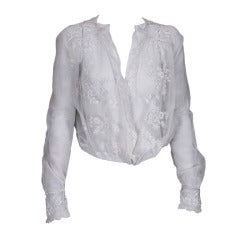 Edwardian Embroidered White Cotton Tulle Blouse