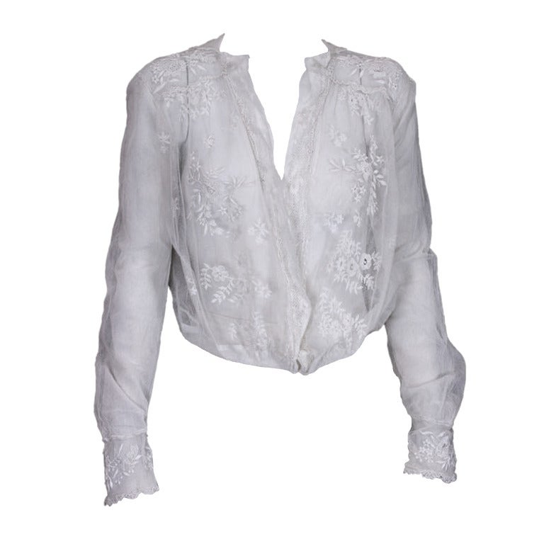 Edwardian Embroidered White Cotton Tulle Blouse For Sale