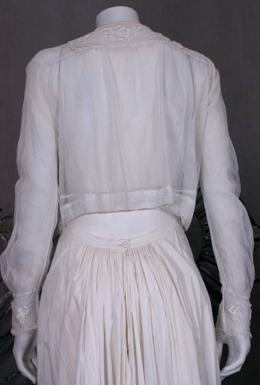 Gray Edwardian Embroidered White Cotton Tulle Blouse For Sale