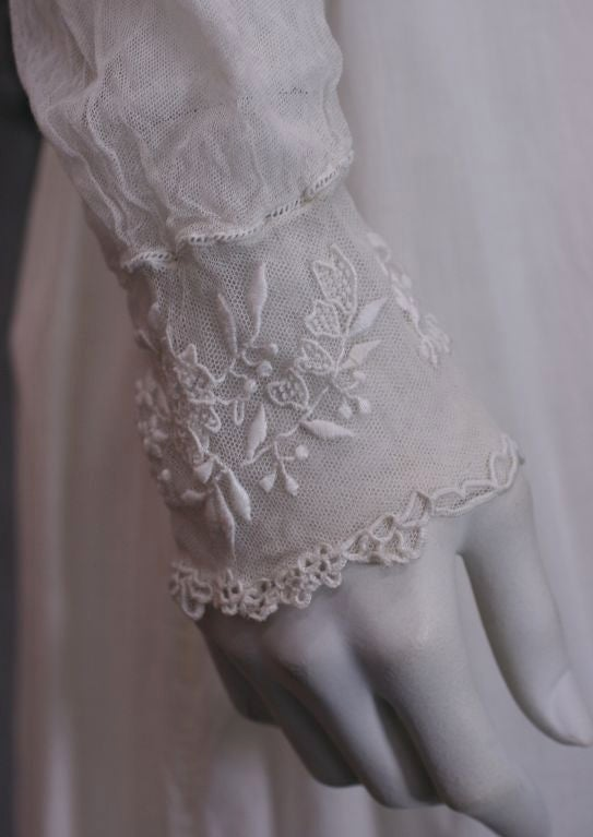 Women's Edwardian Embroidered White Cotton Tulle Blouse For Sale