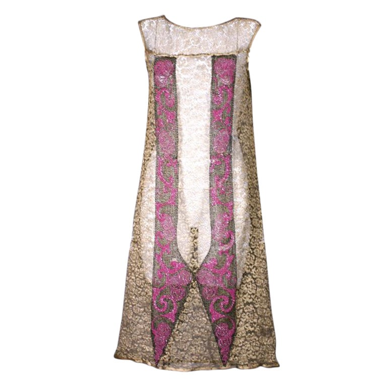 Art  Deco Gold Lace and Beaded Flapper Dress For Sale