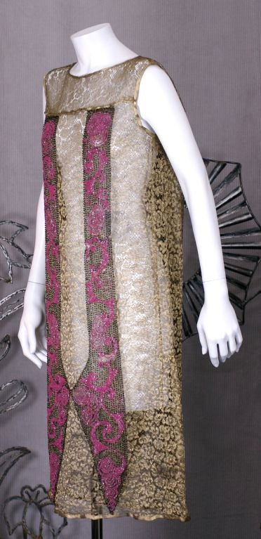 Brown Art  Deco Gold Lace and Beaded Flapper Dress For Sale