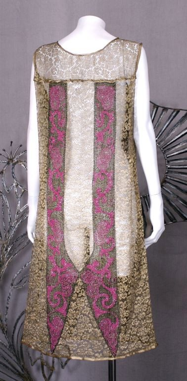 Women's Art  Deco Gold Lace and Beaded Flapper Dress For Sale